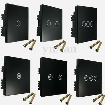 1/2/3 Gang Tempered Glass 1/2 Way Touch Remote Control Light Switch Panel Home