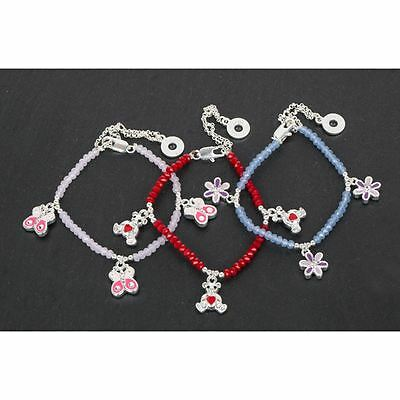 Equilibrium Silver Plated Girls Coloured Multi Charm Bracelet