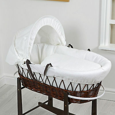 New 4Baby White Waffle Dark Wicker Deluxe Padded Baby Moses Basket And Mattress