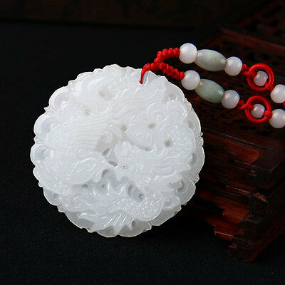 Old Chinese Ancient Natural White Hetian Jade Hand-carved Dragon Phoenix Pendant