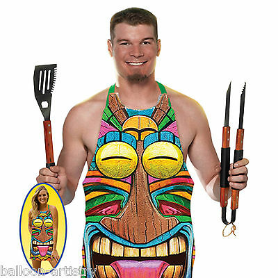 Tropical Summer Barbecue Party TIKI TOTEM Fancy Dress Plastic Apron