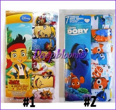 Set 7 Pack Brief Underwear Boys Toddler 2T 3T 4T Finding Dory Nemo Pirate Disney