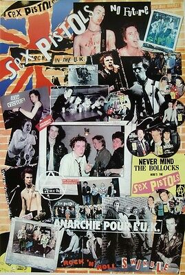 """SEX PISTOLS """"COLLAGE OF GROUP SHOTS & ALBUM COVERS"""" POSTER FROM ASIA -Punk Music"""