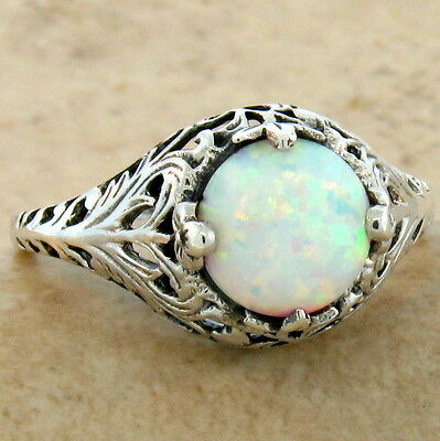 White Lab Opal Antique Filigree Design 925 Sterling Silver Ring Sz 7,       #640