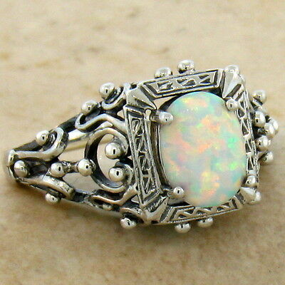 White Lab Opal Antique Victorian Design 925 Sterling Silver Ring Size 5,  #583