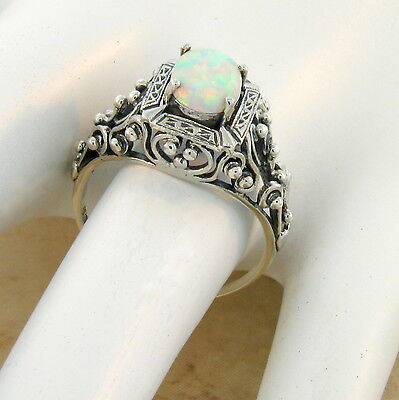 White Lab Opal Antique Victorian Design 925 Sterling Silver Ring Size 8.75, #583