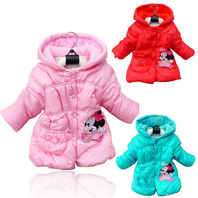 2-5T Minnie Mickey Mouse Bambine Bambini Manica Lunga Giacca Invernale