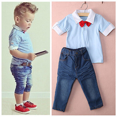 Lovely Bambini Da T-shirt Top+Pantaloni Jeans 2 pz Outfit Set 2-7Y UK