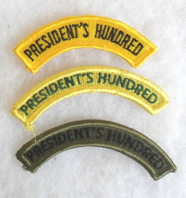 """Set Of 3 Diff Variety Of """"president's Hundred"""" Us Army Marksman Team Tabs All Me"""