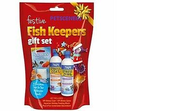 Api Fish Keepers Gift Set Stress Coat Stress Zyme Food Block Floating Ornament