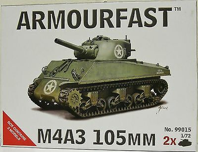 NEW Armourfast 1/72 M4A3 Sherman M4A3 105mm Model Kit - Contains 2 Tanks