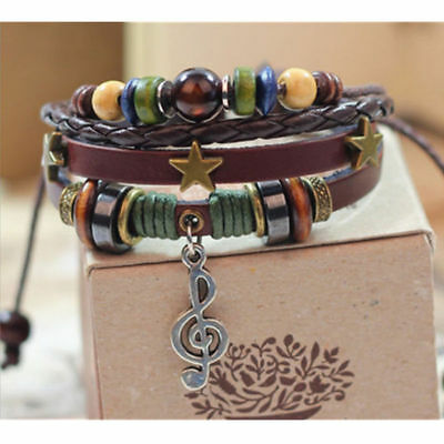 New Jewelry Fashion Infinity Leather Music Note Charm Bracelet Silver lots Style
