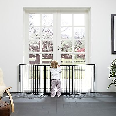 New Babydan Black Metal Large Flexi Fit Hearth/configure Gate Covers 90 - 223 Cm