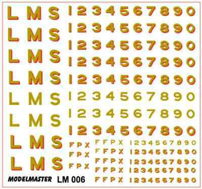 Modelmaster LM006 LMS Sans Serif Loco Letters & Numbers Gold & Gold Shaded Red