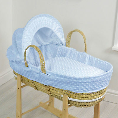 New 4Baby Blue Dimple Natural Palm Deluxe Baby Moses Basket & Mattress