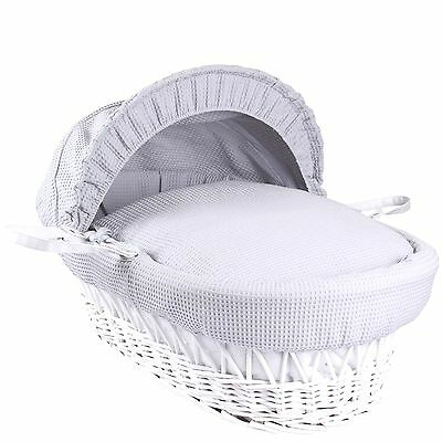 New Clair De Lune Grey Waffle White Wicker Deluxe Padded Baby Moses Basket