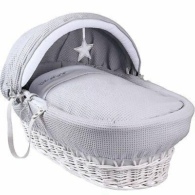 Clair De Lune Deluxe Padded Grey Silver Lining Moses Basket White Wicker