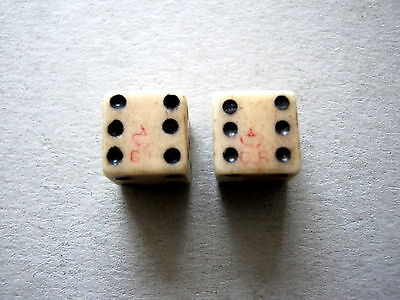 Antique Georgian Duty Stamped Pair Of Spot Dice Dated To Approx 1820 Excellent