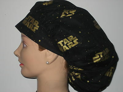 Surgical Scrub Hats/Caps  STAR WARS   Black with gold letters