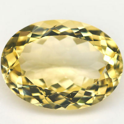 LARGE 18x13mm OVAL-FACET NATURAL BRAZILIAN LEMON CITRINE GEMSTONE (APP £228)