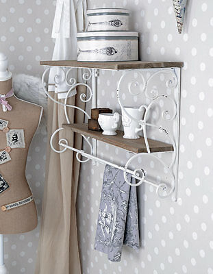 Towel Holder Kitchen Shelf Shabby Chic Wall Shelf Wood & Metal Board • £60.38