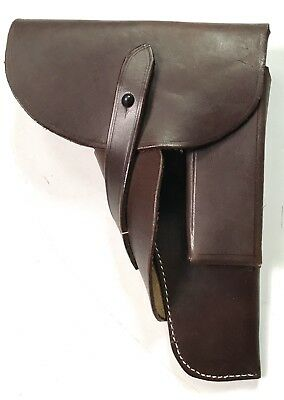 Wwii German Belgian Browning 9Mm High Powered Pistol Holster-Brown Leather