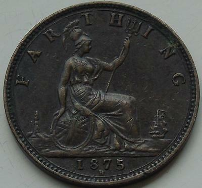 Queen Victoria Bronze Farthing 1875H, S3959, Overdate Repunched Date 5/5 Rare
