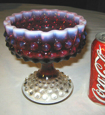 Lg. Vintage Fenton Plum Hobnail Opalescent Art Glass Candy Compote Bowl Stand