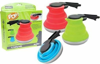 1L Collapsible FOLDING POP UP Camping KETTLE Hiking Travel SPACE SAVING Gadget