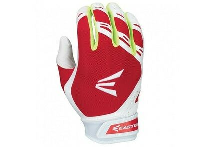 Easton HF7 Hyperskin Fastpitch Women's Batting Gloves NEW White/Red Large