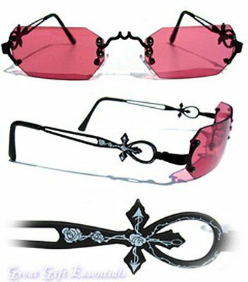 Gothic Vampire Glasses Black Red Rose Costume Sunglasses Dracula Goth Steampunk