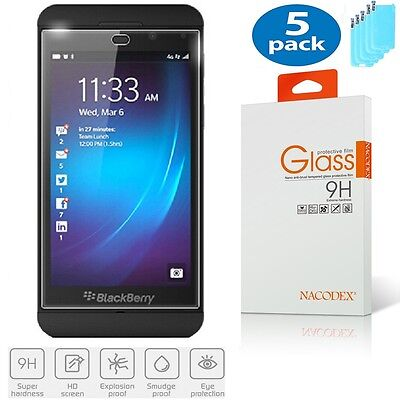 5x Nacodex For BlackBerry Z10 Premium Tempered Glass Screen Protector