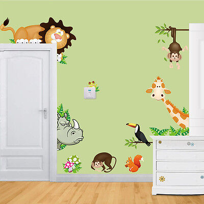 Jungle Wild Animals Art Decals Nursery Wall Stickers Kids Bedroom Home Decor