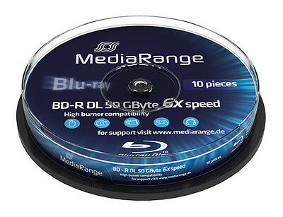 20 MediaRange Bluray BD-R Rohlinge 50 GB DL Dual Layer 6x fach