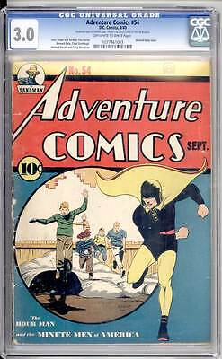 Adventure Comics # 54  Early Hourman Cover !  CGC 3.0 rare Golden Age book !