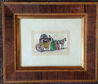 antique 19th century hand tinted lithograph wood frame English? women carriage