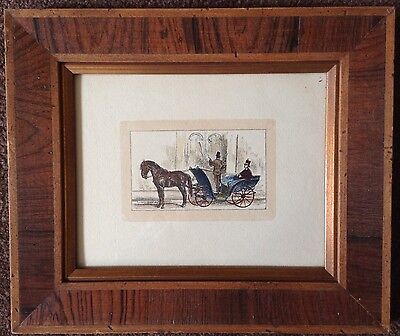 antique 19th century hand tinted lithograph wood frame English? man carriage