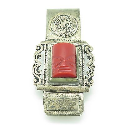 Mexico Vintage 925 Sterling Silver Coral Gem Ethnic Eagle Bold Design Money Clip