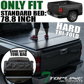 TRI-FOLD SOLID TONNEAU COVER w/TOOL BAG 2007-2016 TUNDRA FLEETSIDE 6.5 FT BED