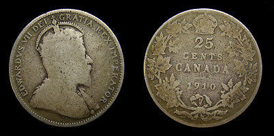 Canada 1910 Silver Quarter Twenty Five Cents 25 Cents VG-10