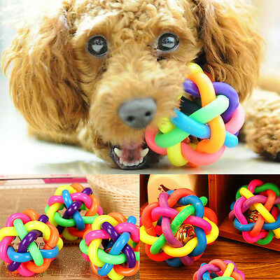 Pet Dog Puppy Dental Teething Healthy Teeth Chew Training Play Ball Toy Colorful