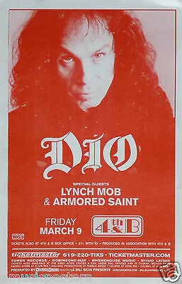 DIO / LYNCH MOB / ARMORED SAINT 2001 SAN DIEGO CONCERT TOUR POSTER - Metal Music
