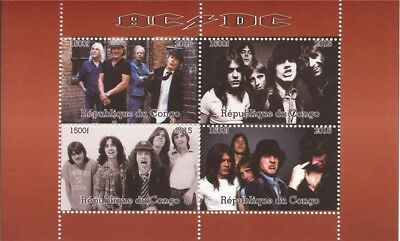Congo - 2015 AC/DC on Stamps - 4 Stamp  Sheet - 3A-485