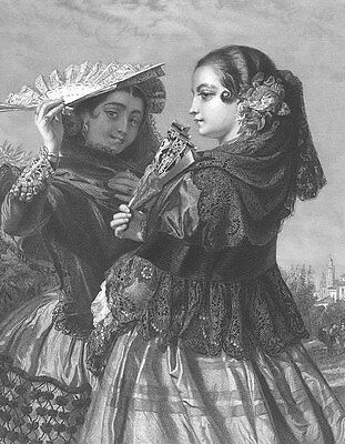 PRETTY Young Spanish Girls TWIN SISTERS in DRESSES, Old 1859 Art Print Engraving