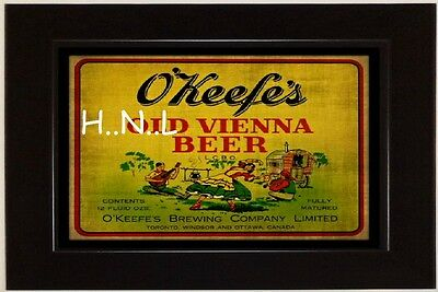 VINTAGE 13x19 O'KEEFE'S OLD VIENNA BEER RP SIGN ADVERTISEMENT AD * FRAMED