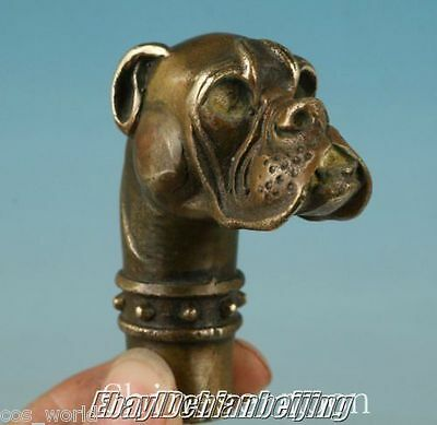 Old Bronze Hand Carved Skull Dog Statue Cane Walking Stick Head Statue