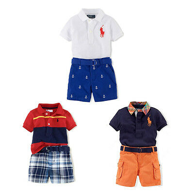 Cool Boys Polo T-Shirt Open Collar Short-Sleeved+Shorts Pants Outfits 1~7Years