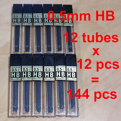 12 Tubes Kutsuwa 0.5 mm .5mm HB Mechanical Pencil 144 Lead Refills MADE IN JAPAN