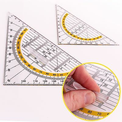 2Pc Triangle Square Protractor Ruler Set Maths/School/Tech/Drawing/Angle/Measure