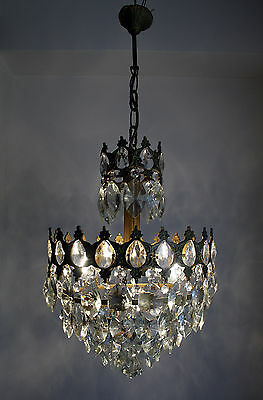 Antique French Basket Style Brass & Crystals 3 Lights  Chandelier 1940's